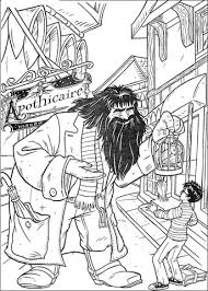 hagrid offers parrot harry potter coloring free