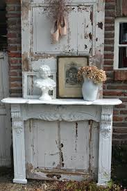 painted cottage chic shabby white fireplace mantle fire screen