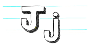 how to draw 3d letters j uppercase j and lowercase j in 90