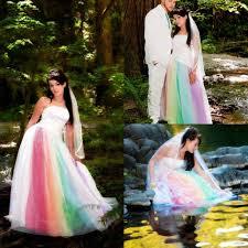 ed rainbow gothic wedding dresses strapless ourdoor red purple