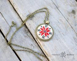 star vintage necklace images Nordic red star embroidered pendant on vintage fabric cross jpg