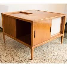 jens risom danish modern walnut coffee table two tier with