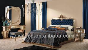 Blue Upholstered Headboard Grilli Italian Style Formal Bedroom Set Mysterious Blue