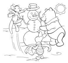 winnie and friends making a snowman free winter coloring pages