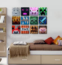 Minecraft Inspired Wall Art  X  Flat Canvas Kids Room - Canvas paintings for kids rooms