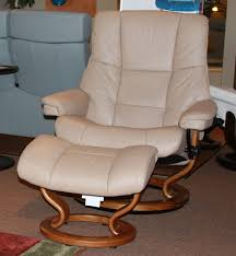 stressless mayfair paloma sand leather recliner chair and ottoman