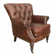 Armchair Leather Lauren Leather Tufted Club Chair