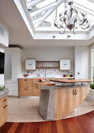 split level kitchen island concrete chandelier kitchen contemporary with wooden floors curved