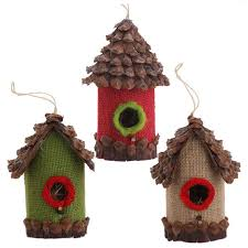 birdhouse ornament with pine cone roof from raz imports