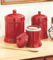 vintage kitchen canister sets ceramic for counter with red red