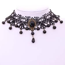 black beaded collar necklace images Victorian crystal black lace chain chunky pendant gothic choker jpg