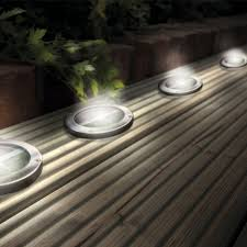 Patio Led Lights Stainless Steel Solar Led Light Deck Ground Lights A Set Of Four