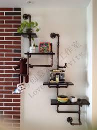 Wrought Iron Wall Shelves American Village Industrial Creative Wall Pipe Racks Wrought Iron