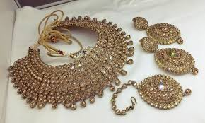 necklace wedding sets images Gold kundan pearl choker necklace bridal wedding set style o jpg