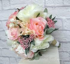 Silk Bridal Bouquet Pink Cream Peony Rose Wedding Bouquet Bride In Bloom