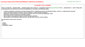 account executive work experience certificate
