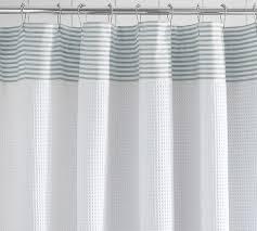 Cotton Waffle Shower Curtain Striped Dobby Waffle Weave Shower Curtain Pottery Barn