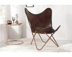 fauteuil design fauteuil design et vintage inspiration papillon en cuir brun très