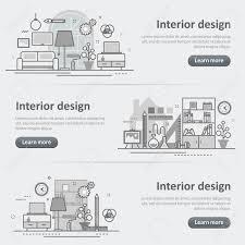design header paper flat line vector design concept banner templates set of interior