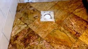 granite floor tile installation complete