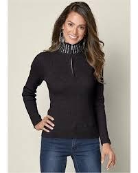 black sweater womens bargains 32 venus s studded mock neck sweater sweaters