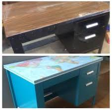 metal desk with laminate top before and after thrift store desk makeover thrift you ve and desks