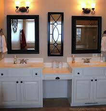 Bathroom With Two Vanities Awesome Dual Vanity With Makeup Counter Houzz Regarding Bathroom