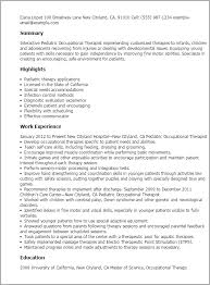 occupational therapy resume template professional pediatric