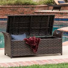 Storage Bench Outdoor Wing Outdoor Wicker Storage Bench By Christopher Knight Home