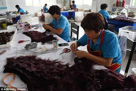 hair trade china s human hair factory tailor make wigs that are sold across