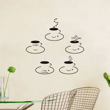 Drop Shipping Home Decor by 5pcsset Coffee Cup Vinyl Quote Restaurant Kitchen Removable Wall