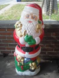 Christmas Decorations For Outside Ebay by Huge Vintage 2 Piece Santa Claus Blow Mold Chimney Light Up Yard