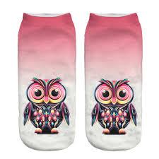 socks eight color and style owl printing realistic animal printed