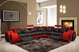 black and red modern sectional