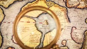 North Pole Map Vintage Magnifying Glass Lies On The Ancient Map Of The North Pole
