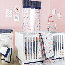 Navy And Coral Baby Bedding The Peanut Shell Floral Crib Bedding Collection In Coral Navy