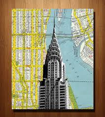 Street Map Of Nyc Chrysler Building U0026 Nyc Vintage Map Art Print Art Art Pieces