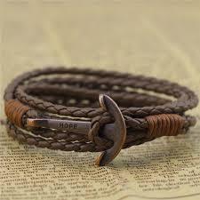 leather wrap anchor bracelet images Bracelets and bangles er punk rock hope anchor bracelet wristband jpg