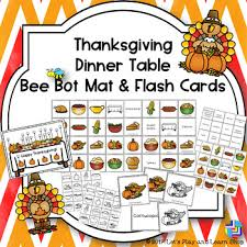 thanksgiving dinner table bee bot mat and flash cards tpt