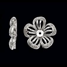 diamond earring jackets flower design diamond earring jackets
