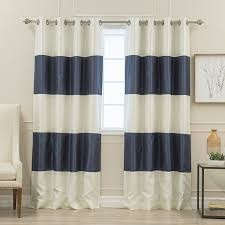 Navy And White Striped Curtains 84 Inch Navy Blue White Rugby Stripes Curtains Panel