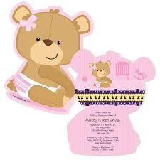 baby girl invitations baby girl teddy shaped baby shower invitations