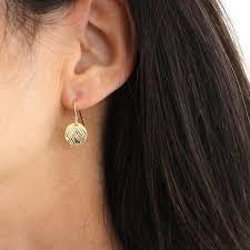 gold disc earrings small gold disc earrings textured vermeil gold drop earrings