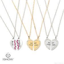 necklace with vintage images Wholesale 2 parts crystal broken heart best friends pendant jpg