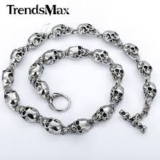 skull link necklace images Customized 13mm heavy gothic skulls link boys mens chain biker jpg