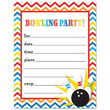bowling fill in birthday party invitations and envelopes 24