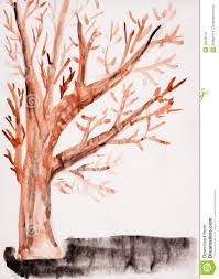 child u0027s drawing watercolor autumn tree stock image image 26445741