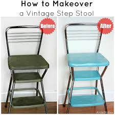 Painted Metal Vintage Cosco High Chair Vintage Step Stool Makeover Photo Prop Alida Makes