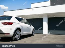 large garage white car front modern house waiting stock photo 681089242