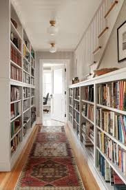 home design narrow hallway storage with hanging shelves and small